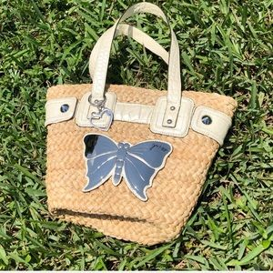 Guess Straw Butterfly Tote Bag